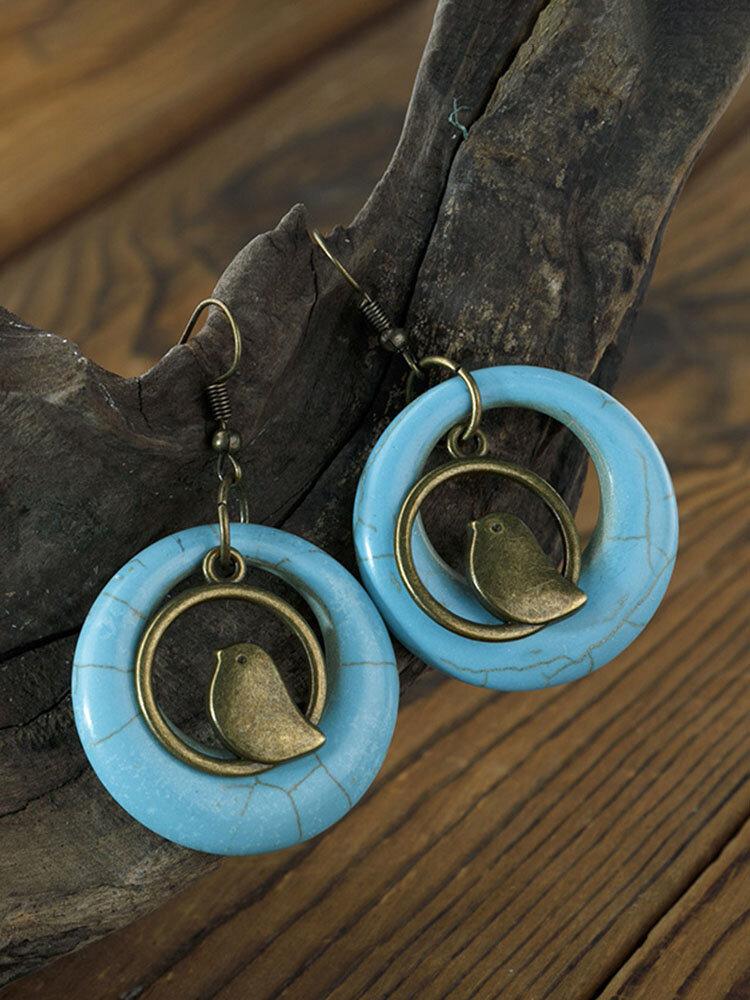 Vintage Turquoise Women Earrings Bohemian Bird Nest Pendant Earrings