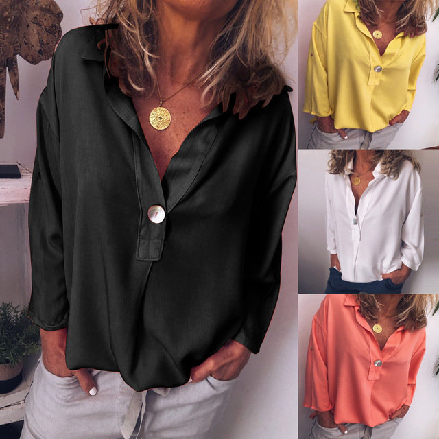 Season Europe And America Women's Ladies Solid Color V-neck Shirt Top 1919