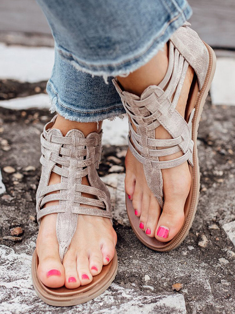 Plus Size Women Casual Holiday Woven Buckle Design Back-zip Clip Toe Gladiator Sandals