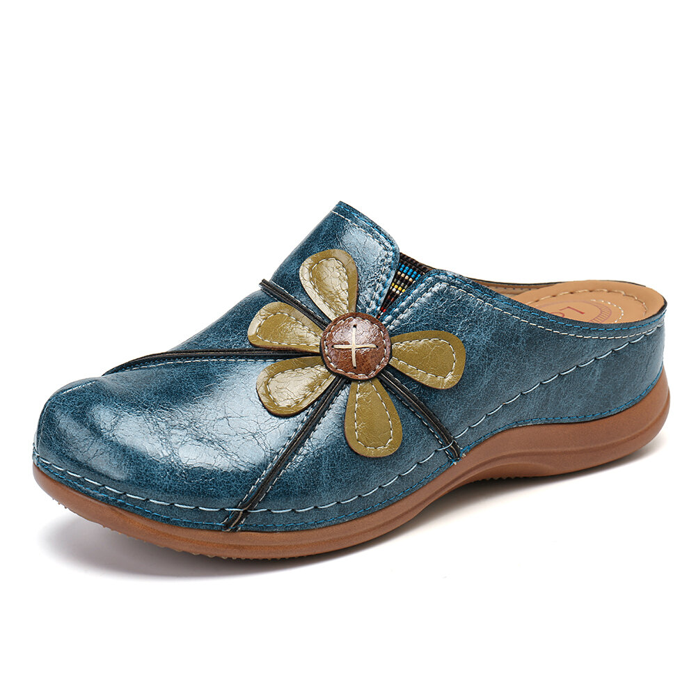 LOSTISY Flower Stitching Slip On Wedges Casual Closed Toe Slippers
