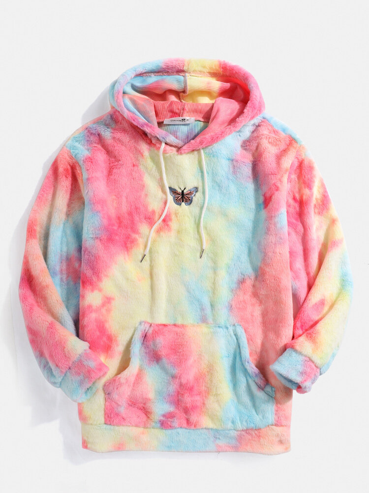 Mens Butterfly Embroidered Tie-Dye Fleece Fluffy  Pouch Pocket Teddy Hoodie