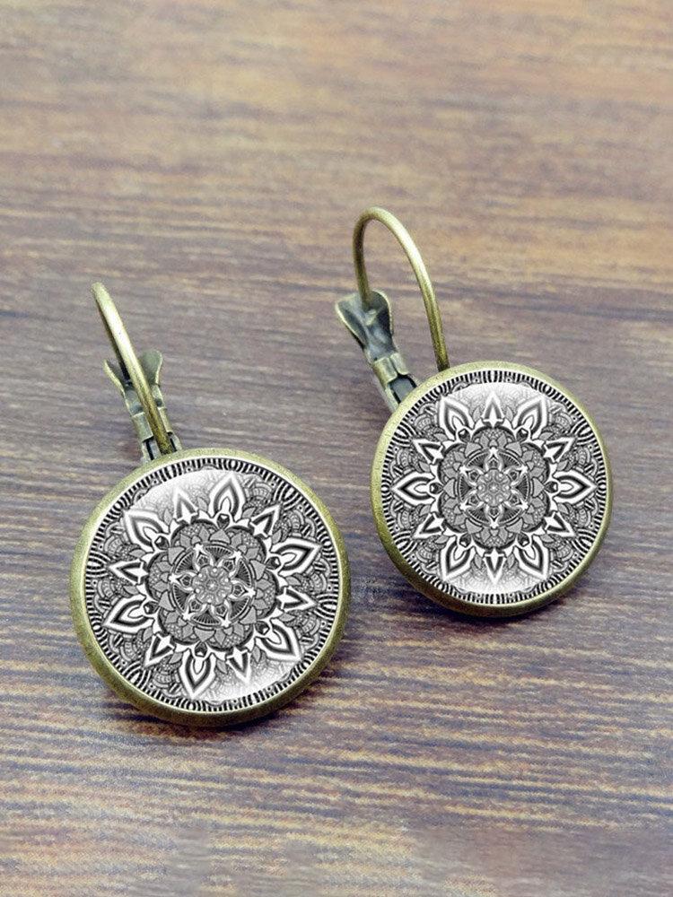 Ethnic Datura Earrings Retro Sliver Drop Earrings Alloy French Hook Earrings For Women