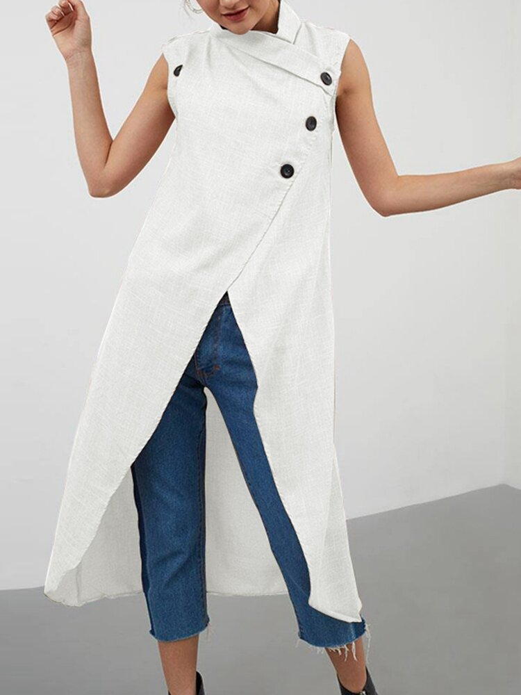 Solid Color Cross Wrap High Low Sleeveless Blouse For Women