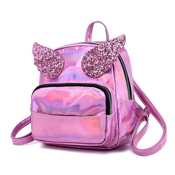 Women Laser Shoulder Bag Sequin Wings Backpack Cute Reflective Bag