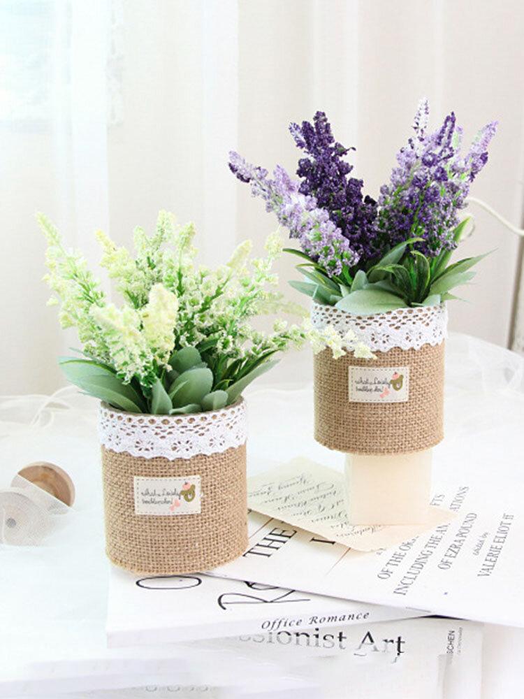 1 pieza de lavanda en maceta Flores artificiales de lino Bolsa Bonsai decoración de jardín de oficina en casa Artificial verde deja Planta decoración