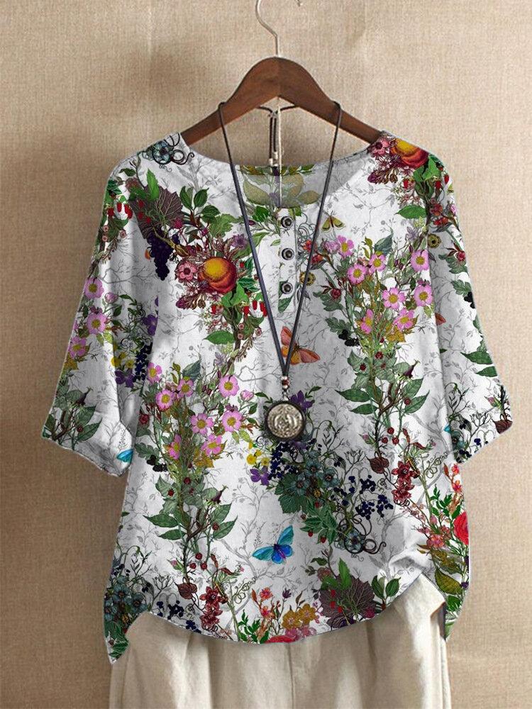 Flower Butterfly Print O-neck Button Short Sleeve Women T-shirt