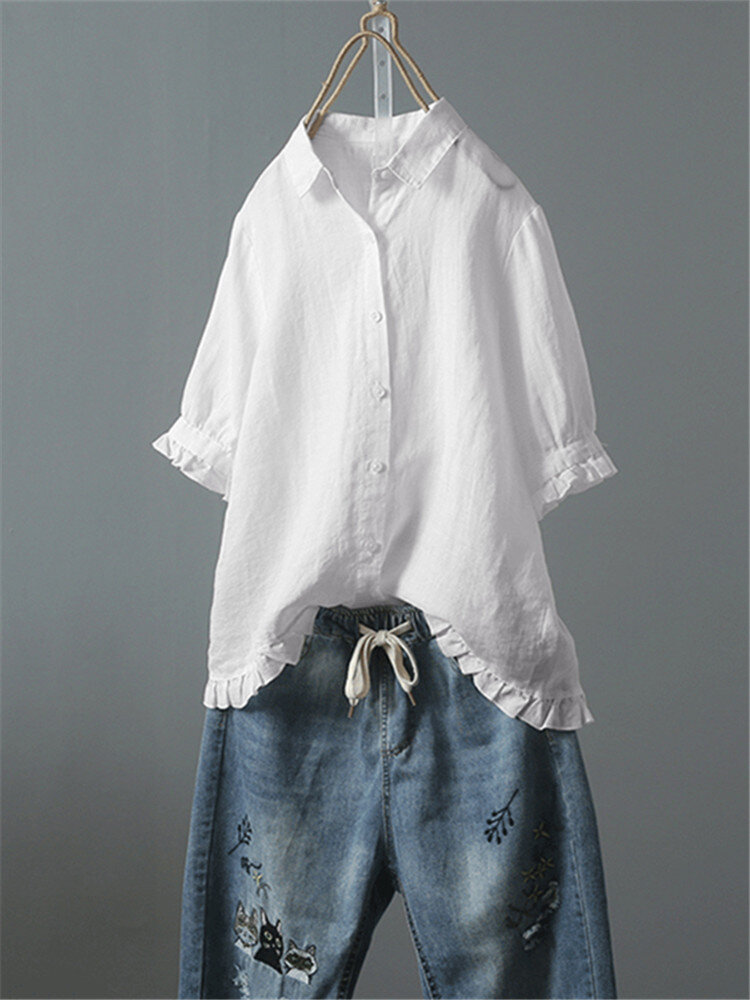 Casual Solid Color Button Turn Down Collar Lapel Ruffle Hem Shirt