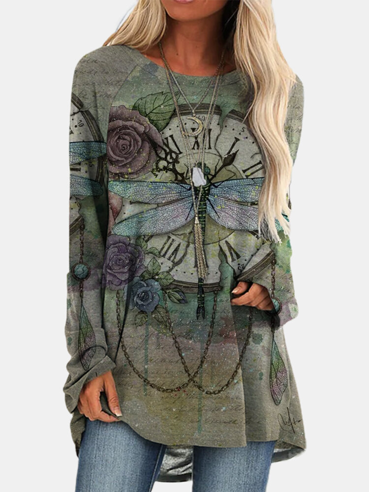 Vintage Dragonfly Printed O-neck Long T-shirt For Women