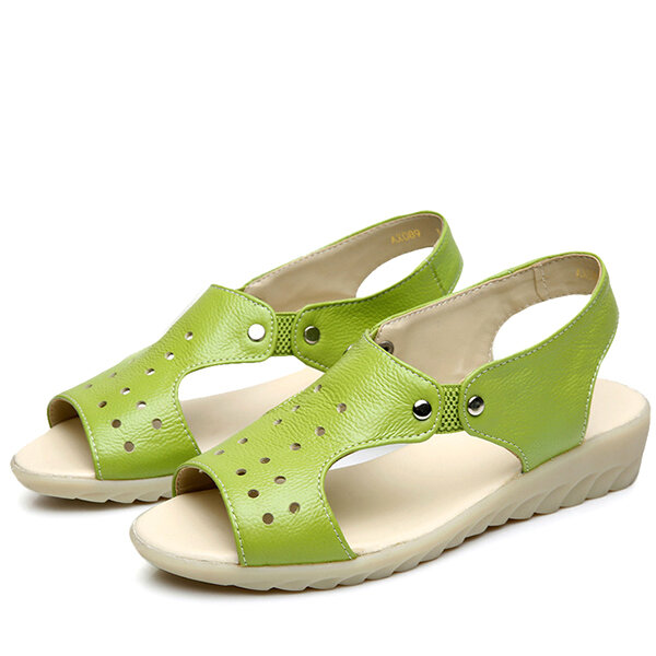 SOCOFY Leather Peep Toe Slip On Soft Sole Sandals