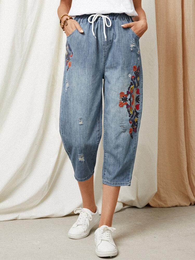 Cintura elástica de mezclilla lavada rasgada con bordado floral étnico Jeans