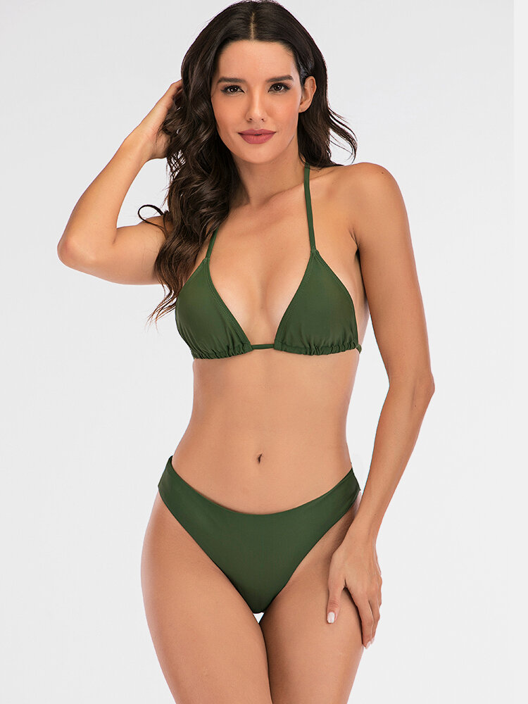 Micro Bikinis Sets Triangle Halter String Backless Sexy Women Swimsuits