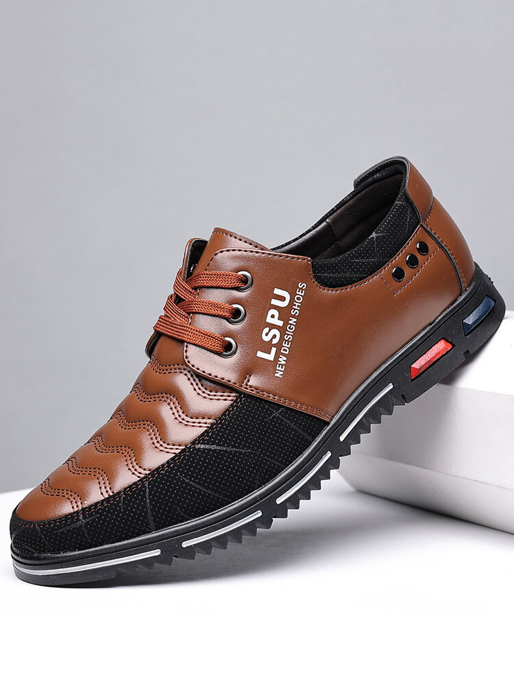 Men Stitching Leather Splicing Soft Sole Business Casual Shoes