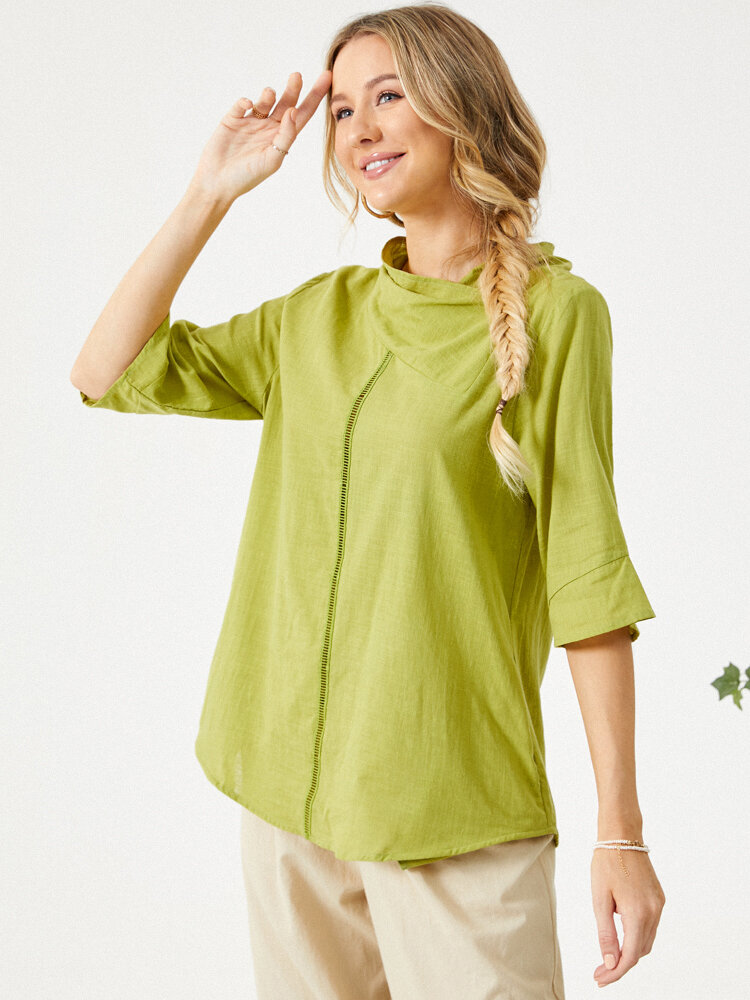 Solid Color Ribbon Half Sleeve  Casual Blouse with Pockets