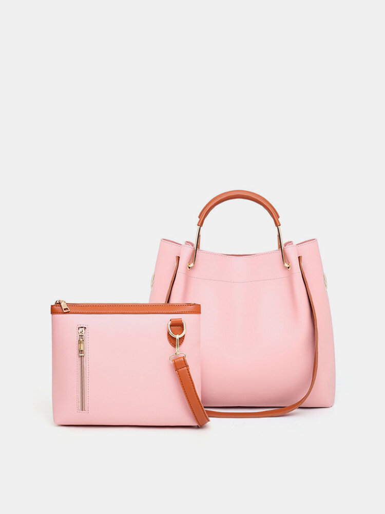 2 PCS Women PU Leather Handbag Solid Leisure Crossbody Bag Shoulder Bag