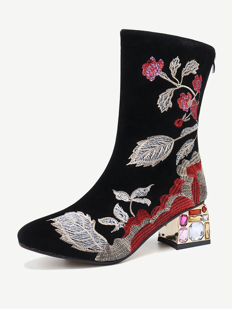 Large Size Women Comfy Flowers Embroidered Mid Calf Zipper Chunky Heel Boots