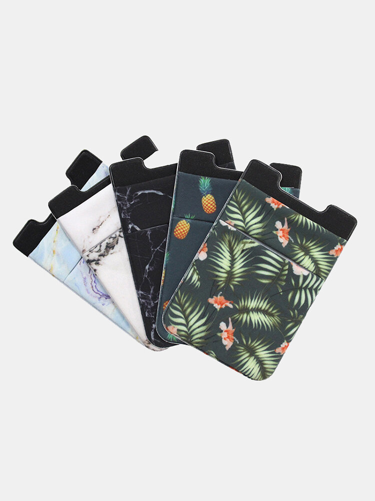 Marble Pattern Lycra Mobile Phone Back Sticker Card Case Multi-function Thermal Transfer Mobile Wallet