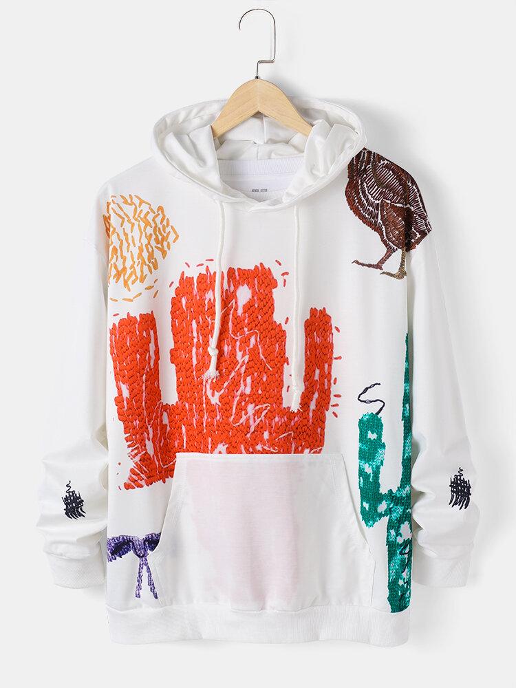 Mens Colored Graffiti Animal Pattern Print Pouch Pocket Casual Drawstring Hoodies