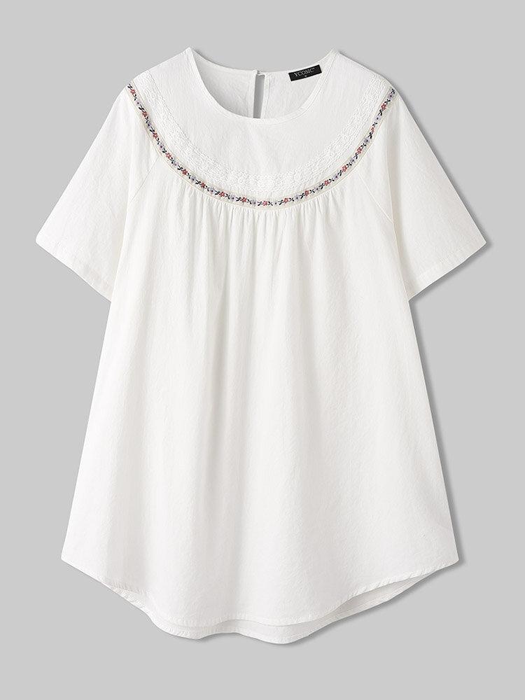 Floral Ribbon Patchwork O-neck Short Sleeve Cotton T-Shirt