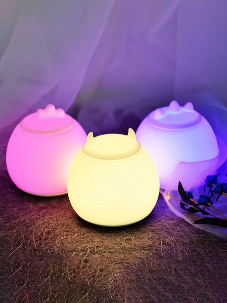 Kawaii Monster Shaped 7 Color Changeable LED Night Light Silicone Decorative Desk Lamp