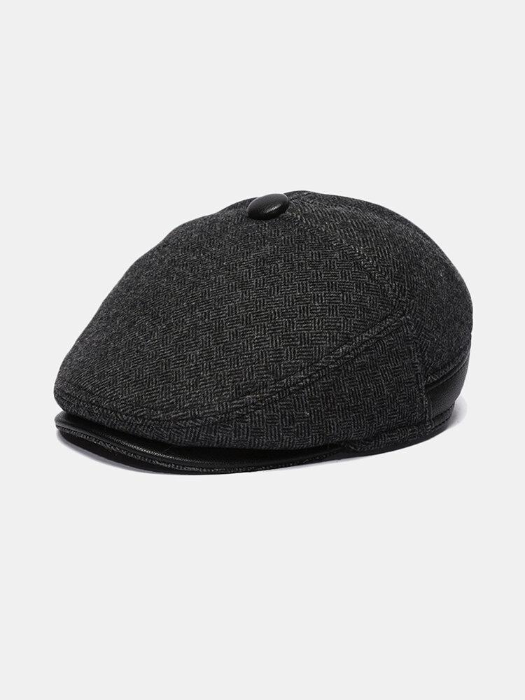 Mens Woolen Beret Caps Plus Velvet Thick Ear Protection Forward Hat
