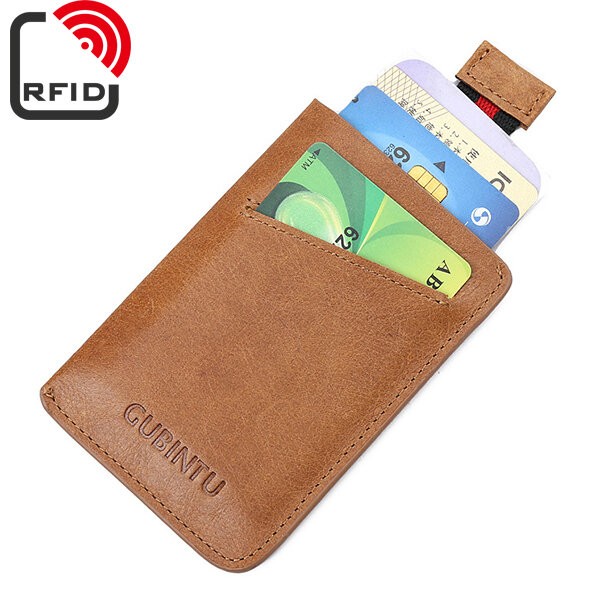 RFID Antimagetic Genuine Leather Wallet Vintage Card Pack For Men