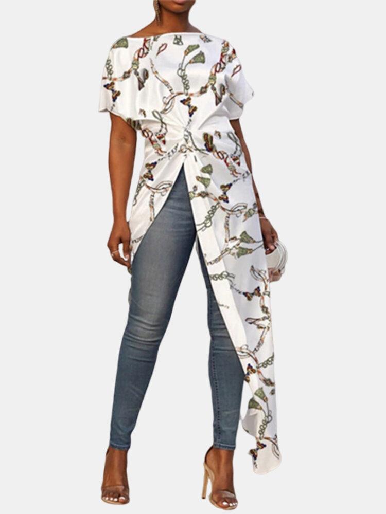 Printed Twist Front Asymmetrical Short Sleeve Plus Size Long Blouse