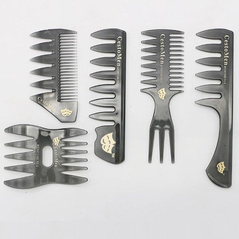 Retro Men's Head Comb Big Back Shape Comb Wide Tooth Head Insert Comb Fork Hair Care Tool