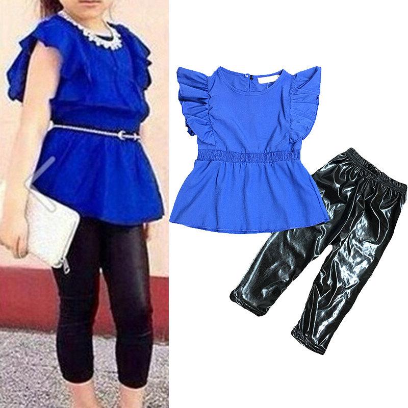2pcs style de bureau filles vêtements mis op + pantalon long mis pour 1Y-7Y