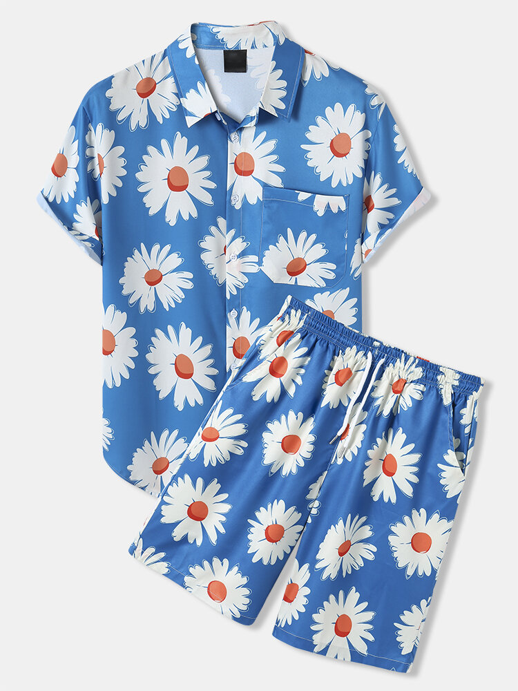 Mens All Over Daisy Print Lapel Drawstring Shorts Holiday Two Pieces Outfits