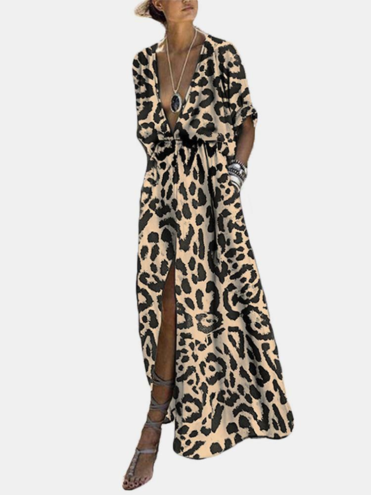 Splited Leopard Print Short Sleeve Maxi Dress For Women