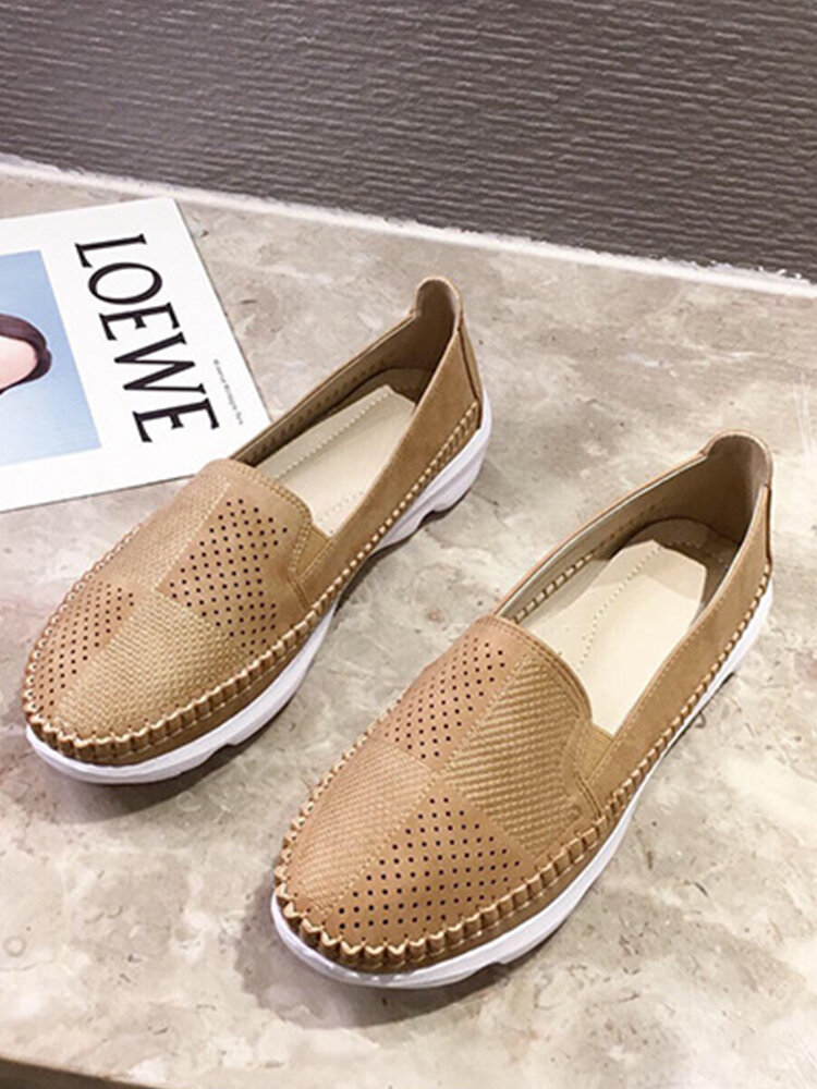 Women Casual Hand-stitching Hollow Out Breathable Flat Loafers Shoes