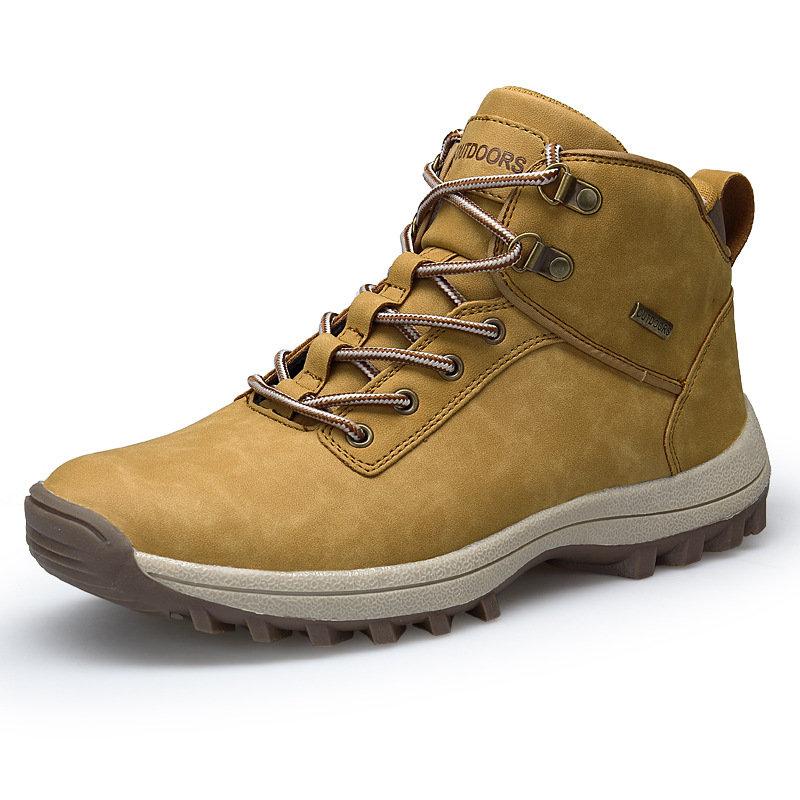 Men Outdoor Slip Resistant Waterproof Lace Up Hiking Boots