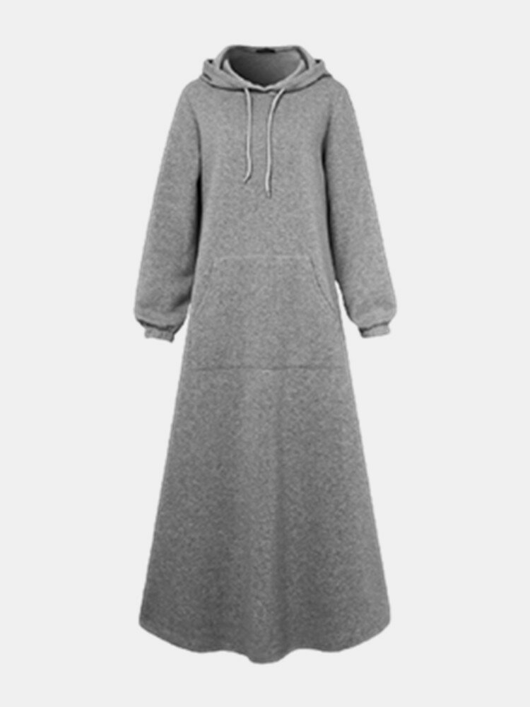 Casual Solid Color Hooded Drawstring Plus Size Dress with Pockets