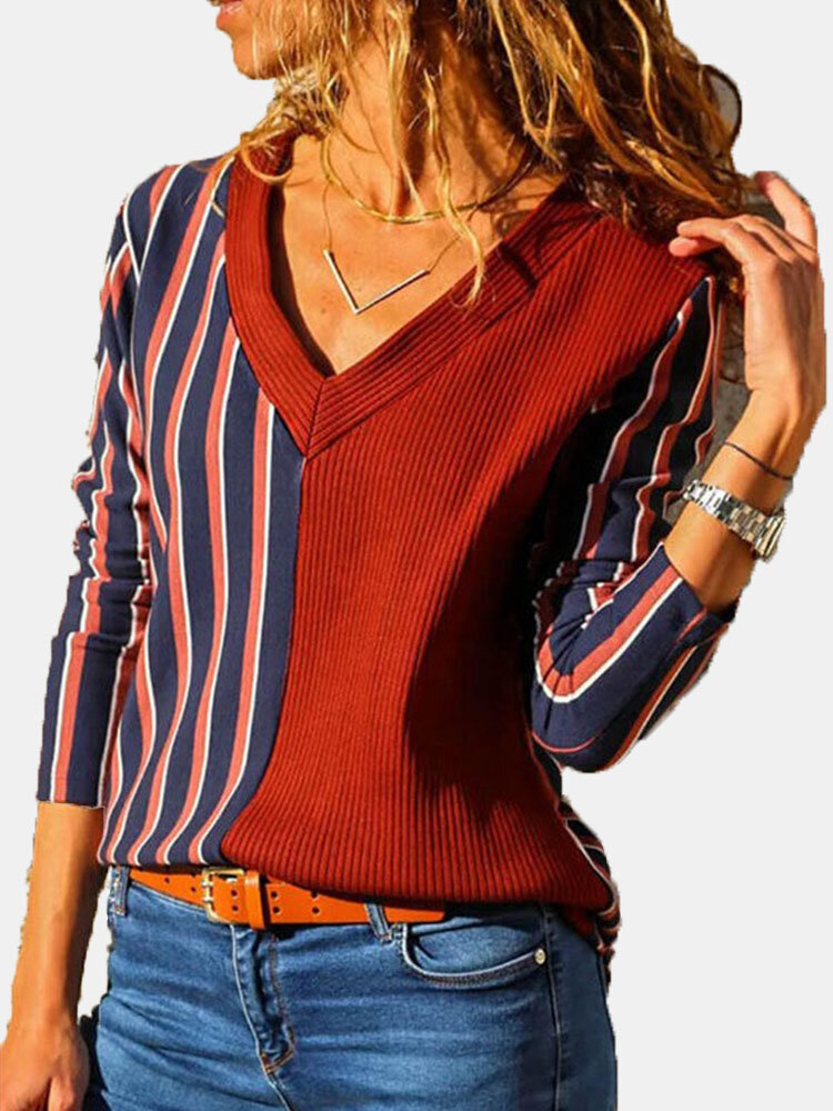 Striped Patchwork V-neck Long Sleeve Plus Size Casual Shirt For Women