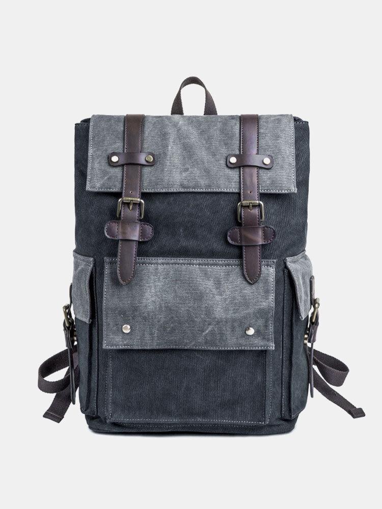 मेन कैनवस लार्ज कैपेसिटी कंट्रास्ट कलर 15.6 इंच लैपटॉप बैग ट्रेवल स्कूल बैग बैग