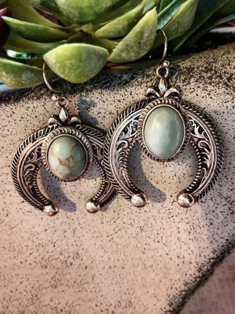 Bohemia Turquoise Women Earrings Carved Crescent-Shaped Pendant Earrings