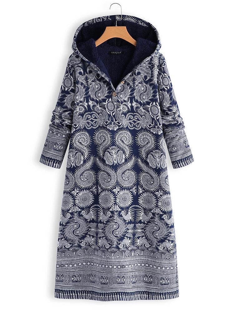 Thick Folk Style Print Hooded Long Sleeve Vintage Dress
