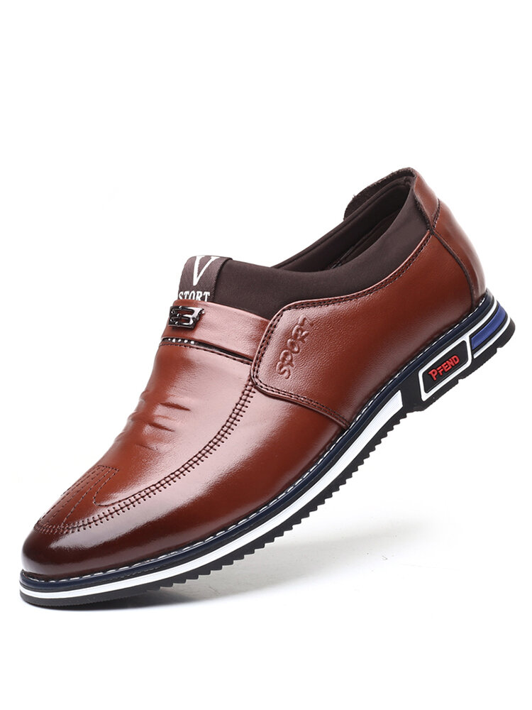 Men Leather Non Slip Soft Sole Slip On Business Casual Shoes