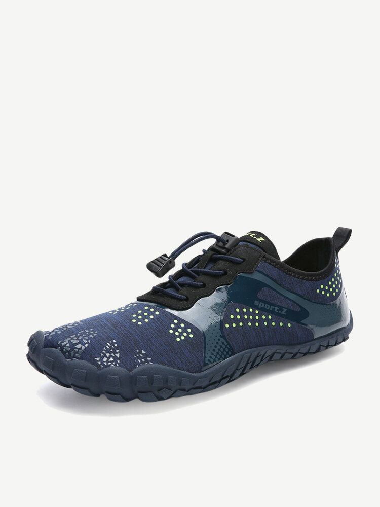 Large Size Men Fabric Slip Resistant Elastic Lace Hiking Casual Beach Water Shoes