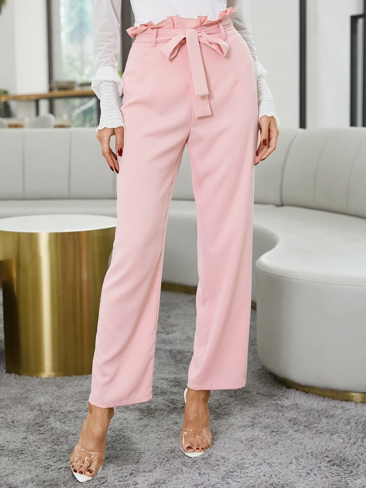 Solid Color Ruffle Knotted Casual Pants For Women