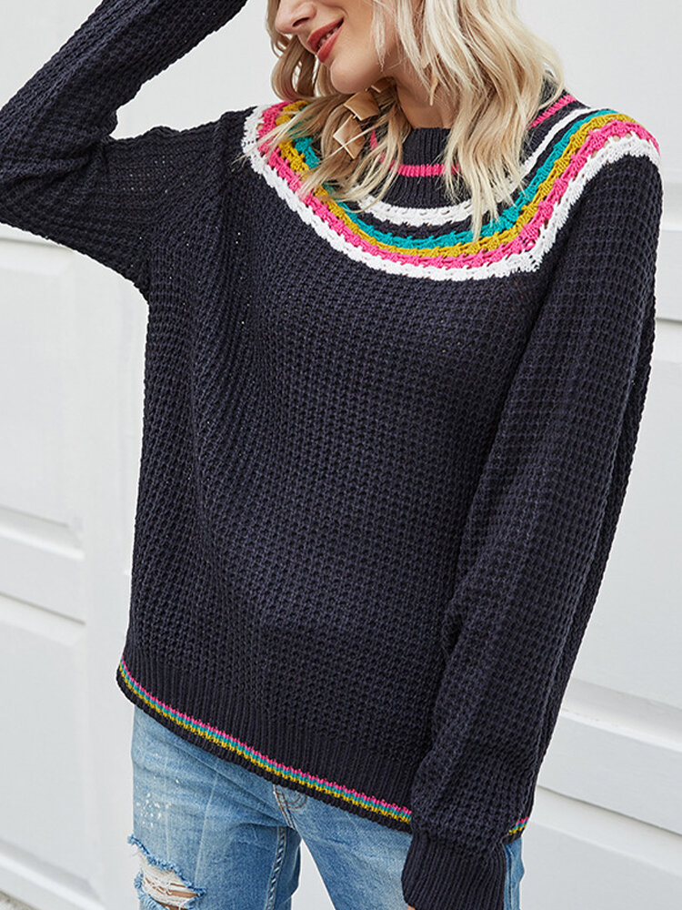 Striped Knitting O-neck Long Sleeve Casual Sweater