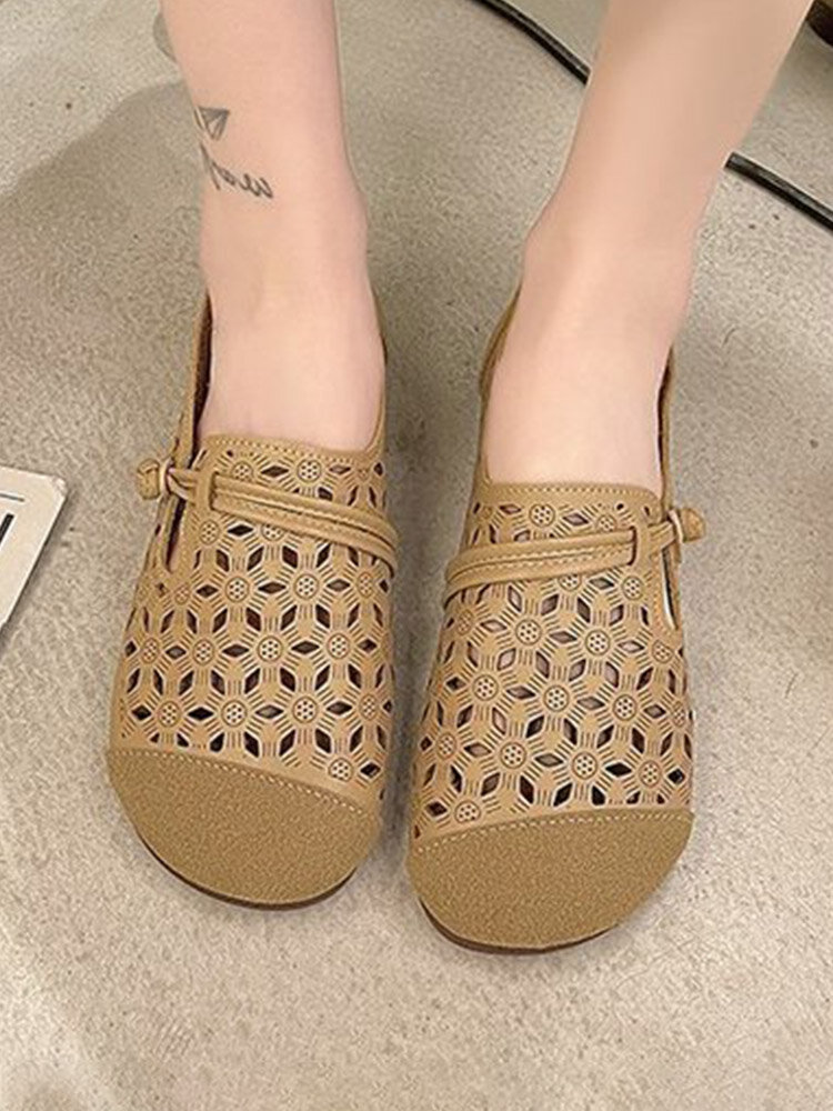 Women Casual Breathable Sen Department Shoes Hollow-out Soft Flats