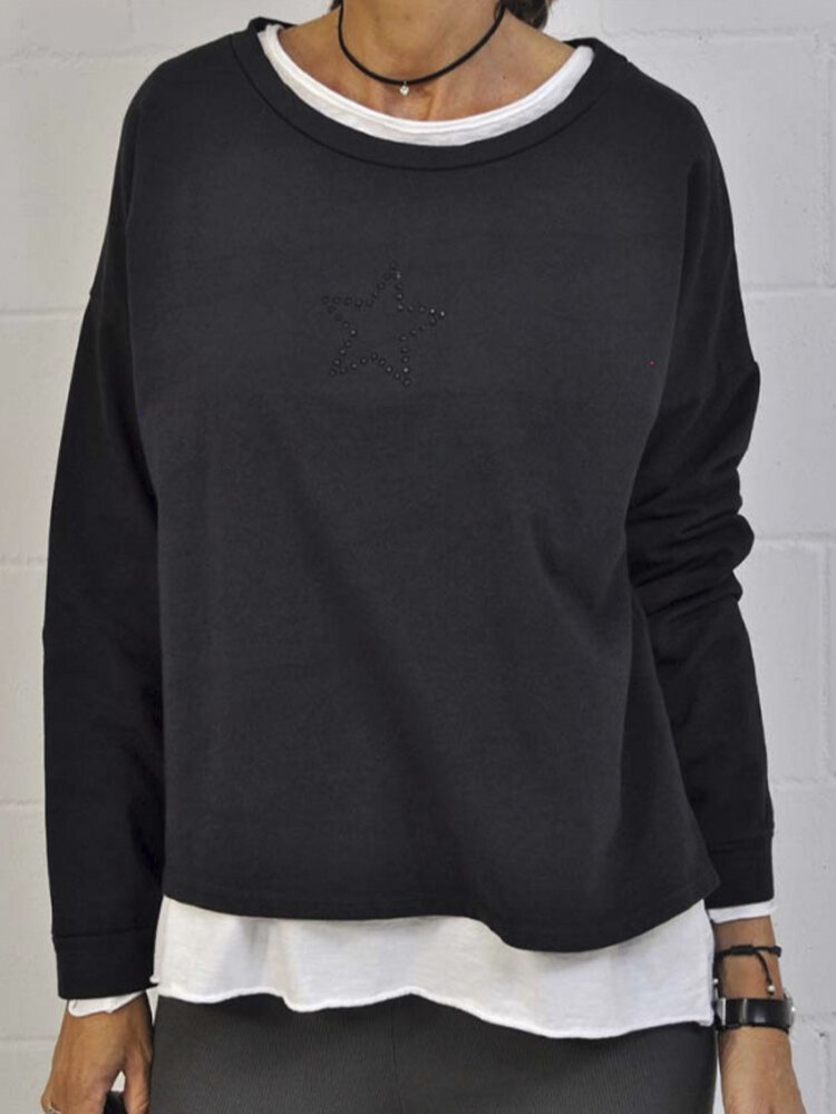 Diamond Five-Pointed Star Solid Color Casual Sweatshirt For Women