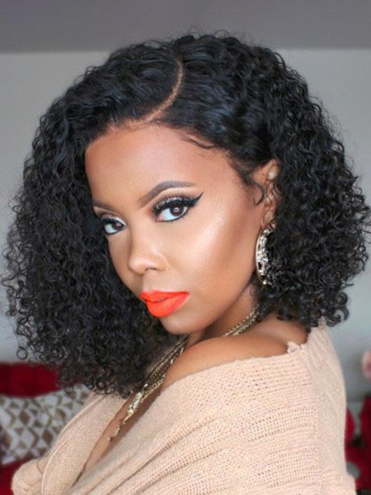 Afro Small Curly Women Medium-Length Curly Hair Long Bangs Full Head Cover Wig