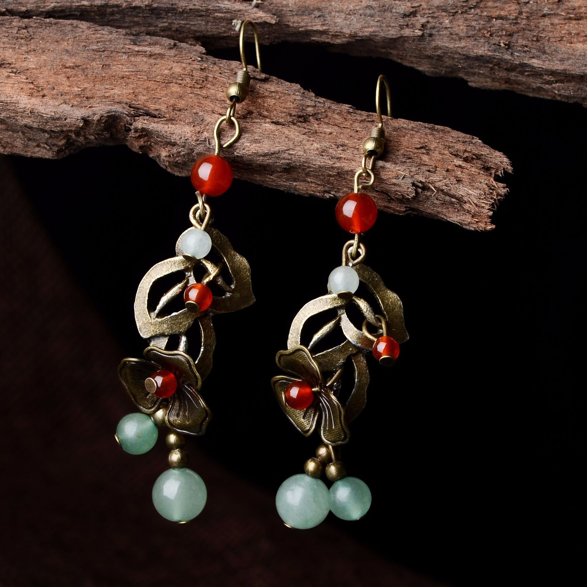 Vintage Red Agate Bronze Flower Ear Drop Ethnic Beaded Tassel Earrings for Women Jewelry Gift