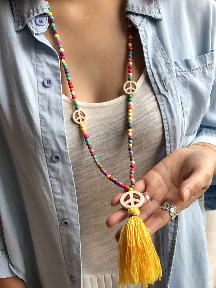 Bohemian Colorful Turquoise Beaded Necklace Peace Sign Tassel Pendant Necklace Sweater Chain