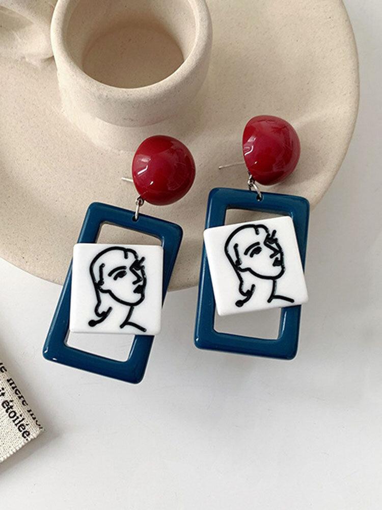 Vintage S925 Acrylic Alloy Ear Clip Drop Face Earrings