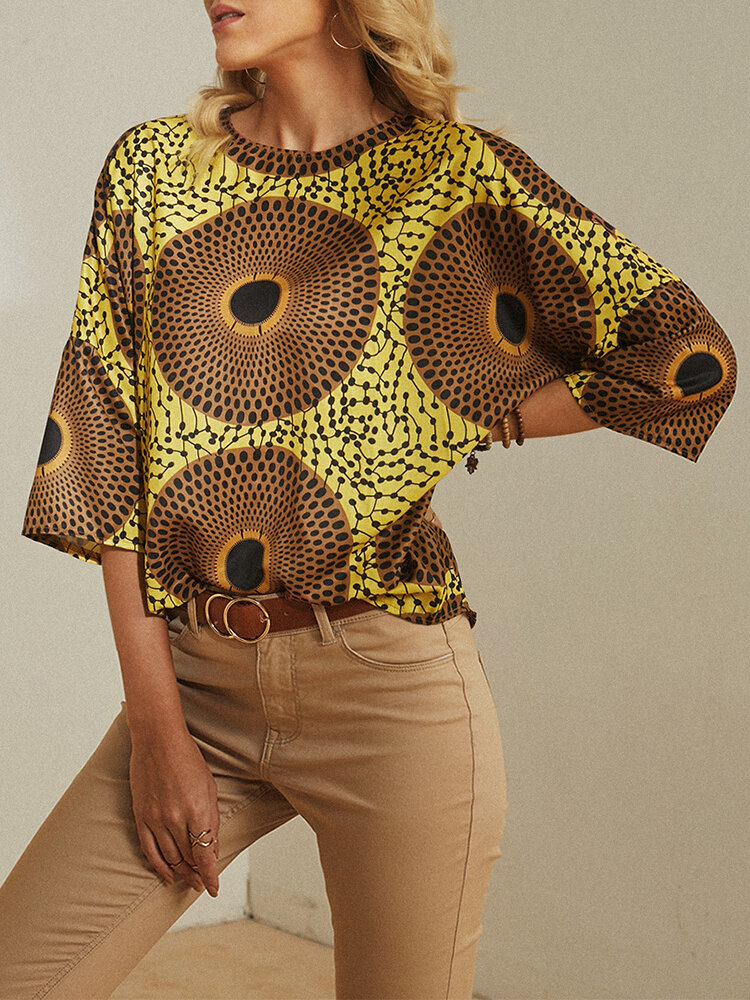 Vintage Printed O-neck Casual Blouse For Women
