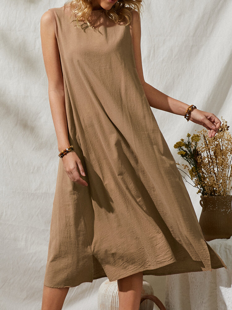 Loose Button Sleeveless O-neck Solid Color Vintage Dress For Women
