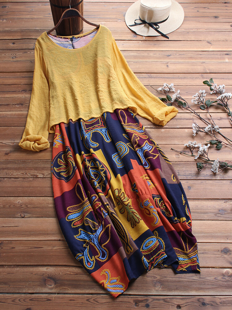 Ethnic Print Two Pieces Maxi Dress For Women